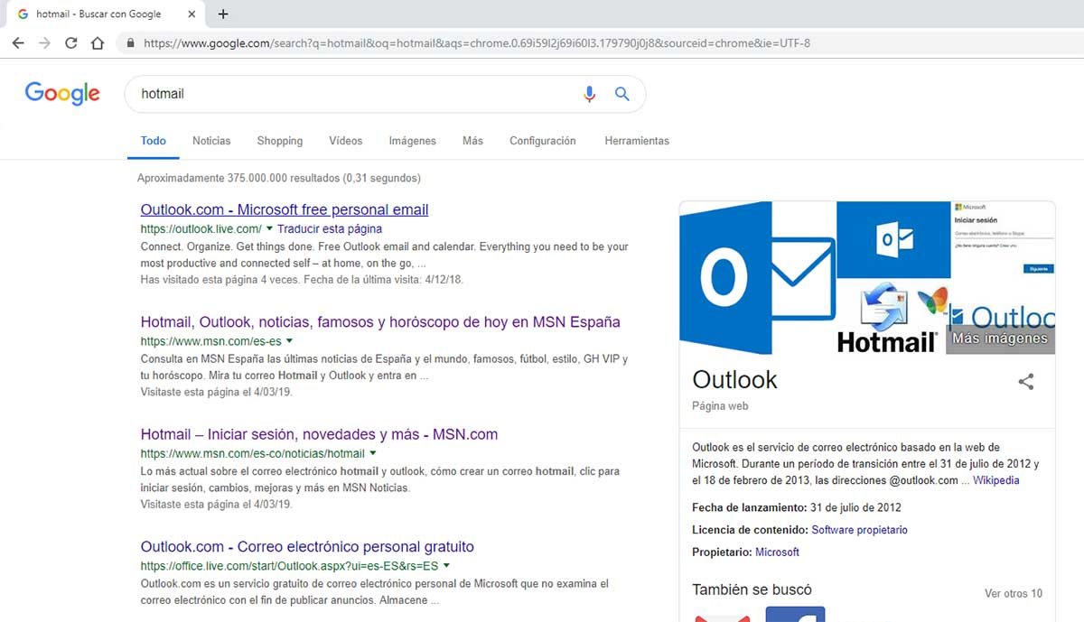 Hotmail results in Google