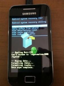Finalizacion del Hard Reset Samsung Galaxy Ace GT-S5830l