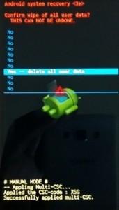 Menu recovey del Samsung Galaxy Ace
